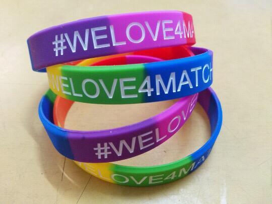 Met het #welove4match bandje maakt het niet uit wie je bent of wat je geaardheid is, liefde kent geen labels!